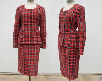 90s French Tartan Red Plaid Skirt Suit 2 Pc set Yellow White Black Preppy