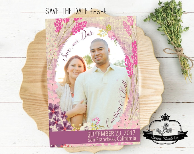 SD710 Wedding Save our Date 5 x 7 Wedding Announcement Photo Save the Date Save our Date Bridal Announcement Card Handmade Wedding
