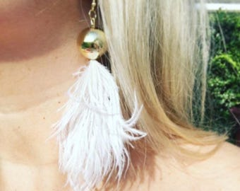 White Ostrich Feather Earrings