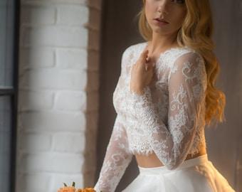 Wedding crop top, lace crop top,wedding lace bolero,Two Piece Wedding Dress, lace wedding dress ,bridal separates, unique wedding gown