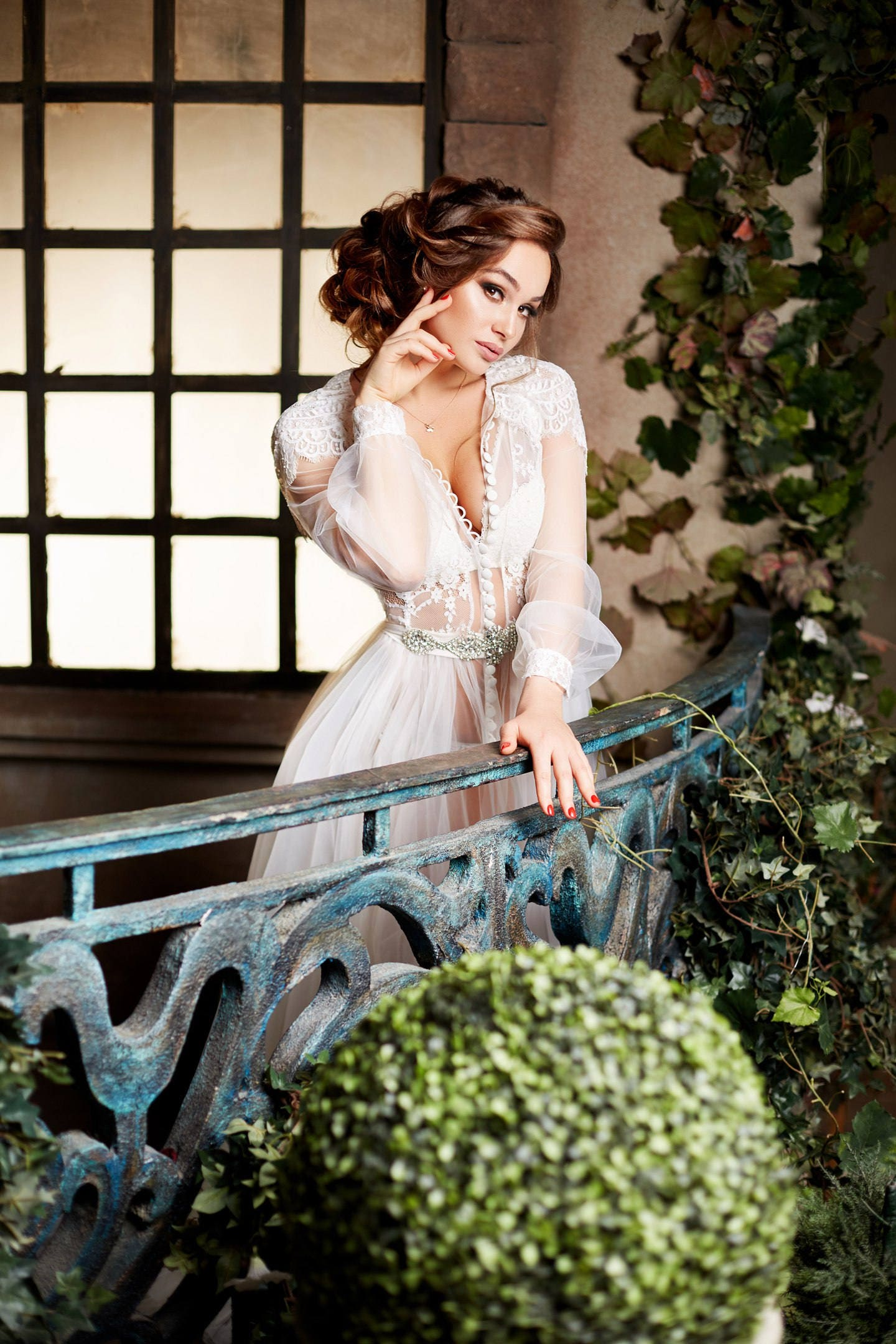 Boudoir-Kleid Hochzeits Gewand Gewand Spitze Damen