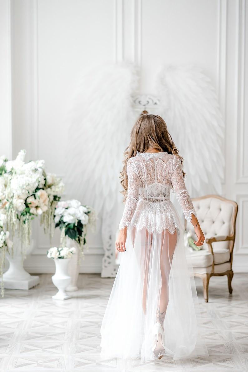 Boudoir dress bridal robe wedding robe lacewomens robe image 0