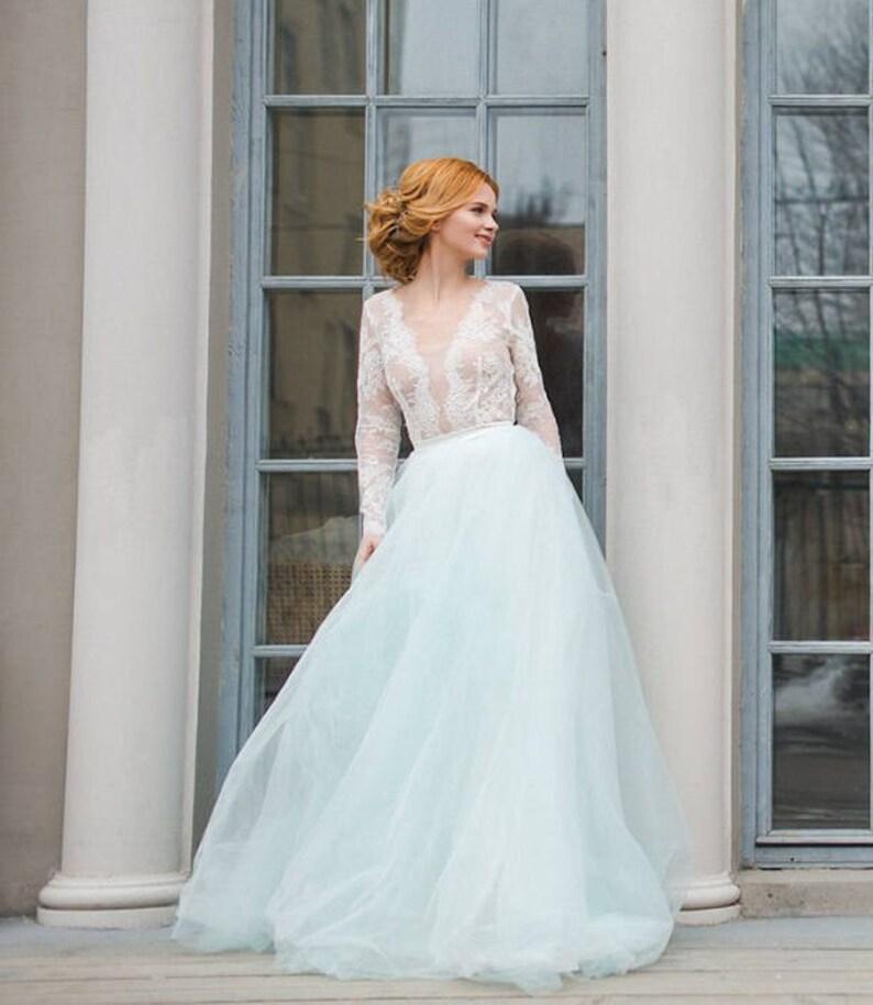 27fd7f02571a Champagne Nude Ivory Wedding Dress Two Piece Wedding Dress | Etsy