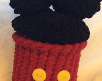 Hand knit Mickey Mouse wide mouth mason jar cover with lid