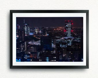 Milan Poster, Night Skyline, Unicredit Tower