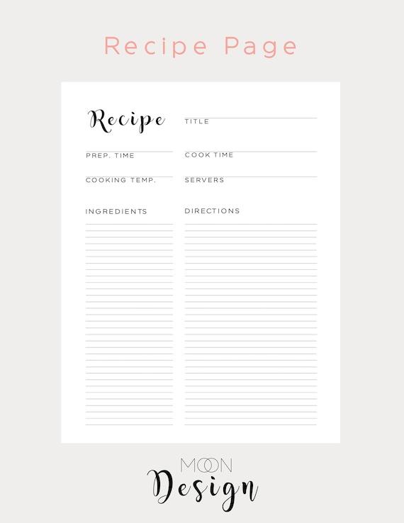 livre de recette vierge cartes de recette vierge liant de etsy
