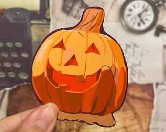"Halloween Town 3"" Water Resistant Pumpkin statue sticker."