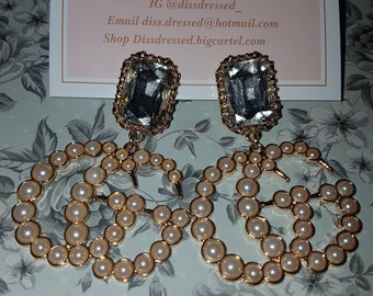 4f9921042 GG Gucci inspired pearl and crystal drop dangle statement earrings designer  inspired