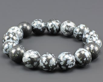 Snowflakes Obsidian 12mm Bracelet