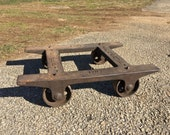 Antique Industrial Fairbanks No. 1 Railroad Factory Dolly Cast Iron Wheels Blacksmith Anvil Cart Steampunk