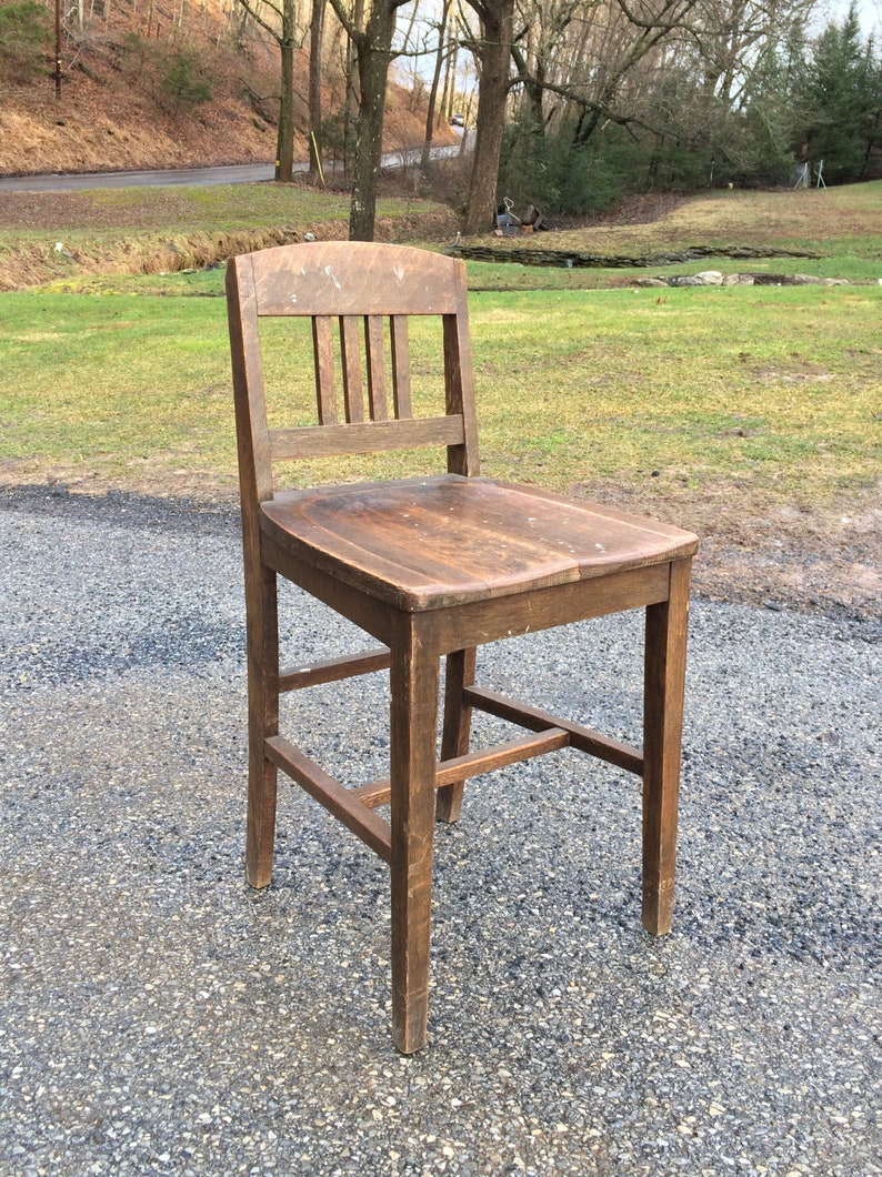 Peachy Antique Vintage The Sikes Company Wood Drafting Chair General Store Counter Stool With Low Backrest High Slanted Seat Rare Caraccident5 Cool Chair Designs And Ideas Caraccident5Info