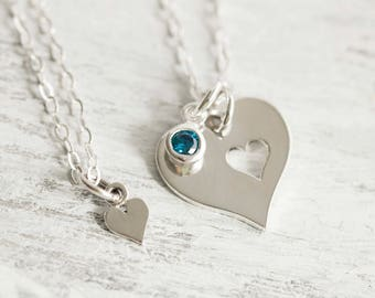 Personalized Mother Daughter Necklace, Large Sterling Silver Heart ,Birthstone, Necklace, Piece Of My Heart, Gift For Mom From Daughter
