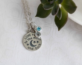 Love You to the Moon and Back Necklace Sterling Silver Love You to the Moon Pendant Love You to the Moon Quote Love Jewelry Gift For Wife