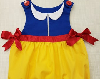 0af6661a2176 ONE available Baby Snow White bubble. Fits up to 6 months. Onesie Halloween  costume. Baby princess Snow White outfit. Baby Snowwhite romper.