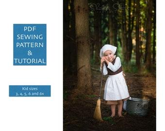 de3f2433c Costume sewing pattern Cinderella rag dress PDF pattern for 3 piece  Halloween costume dress apron and kerchief Cinderella pattern 3-7 yr old