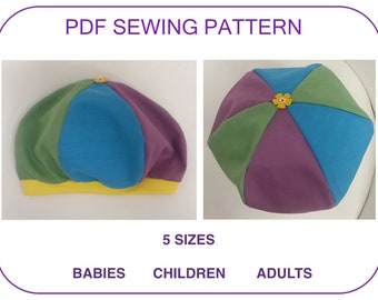 Beret pattern for babies toddlers children adults pdf pattern Unisex hat  Sewing pattern tutorial kids adults pdf hat pattern beginner sewing 69c23996461