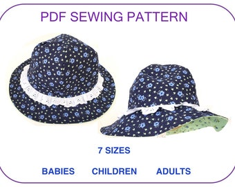a95026c219e EASY Sun hat pattern for babies children adults Beach hat Women Summer hat  Sewing pattern tutorial kids pdf hat pattern Toddler hat pdf