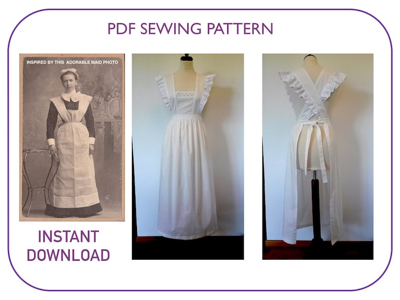 Vintage Aprons, Retro Aprons, Old Fashioned Aprons & Patterns Pinafore Apron pattern Adult sizes PDF pattern tutorial Victorian apron Edwardian apron Maid costume Long white apron Servant Pilgrim apron $5.26 AT vintagedancer.com