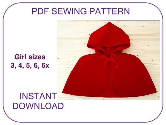 hooded cape pattern VERY EASY PDF sewing pattern Little Red Riding ...