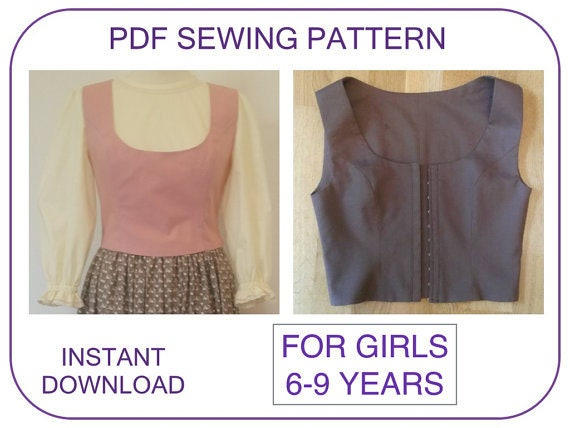 Vest PDF sewing pattern girls 6-9 years Sound of Music, Cinderella ...