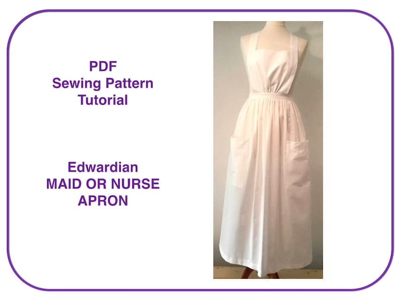 Vintage Aprons, Retro Aprons, Old Fashioned Aprons & Patterns Apron pattern. PDF sewing pattern tutorial for long apron Edwardian Victorian Nurse Maid costume apron Pinafore apron pattern Pilgrim apron $5.26 AT vintagedancer.com