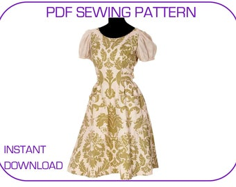 Liesl dress PDF sewing pattern. The Sound of Music Liesl's curtain dress. 5 sizes. Instant download Folk dress pattern PDF dress pattern
