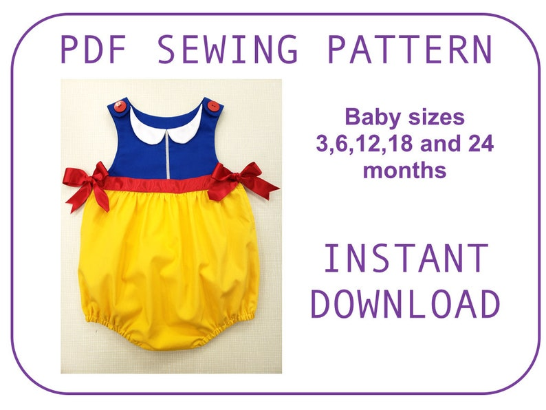 9dfc1ee59 Baby and toddler Snow White princess Bubble onesie Pattern PDF | Etsy
