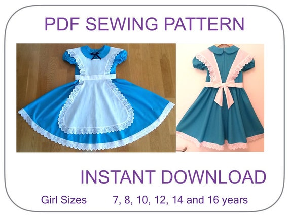 Pattern Costume In Sizes Etsy e Teen Wonderland Vestito Alice E8xIEwX