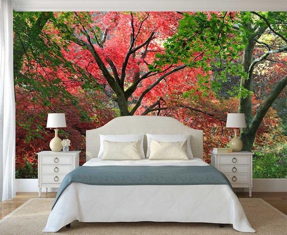 Tapete Chinesischen Garten Wandbild Wald Tapete Wald Baume Etsy