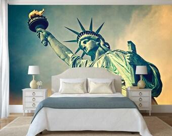 Wall Art Wallpaper, Statue of Liberty Wall Decal, Wall Mural Art, Wallpaper USA, Peel And Stick