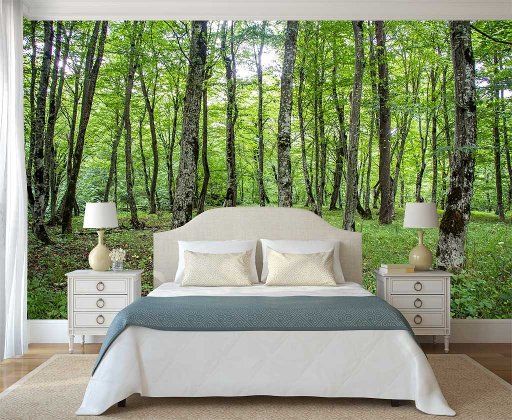 Forest Wall Decal Green Forest Wall Mural Nature Wall Mural Etsy