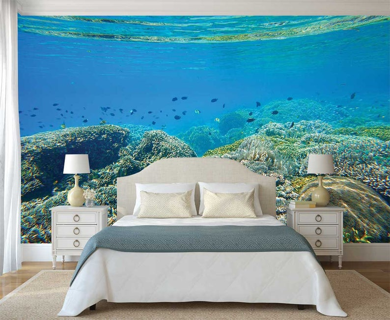 Wall Mural Fishes Peel And Stick Wallpaper Underwater Wall Decal Wall Decal Corals Wallpaper Reef