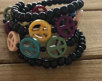 Peace Sign Beaded Bracelet