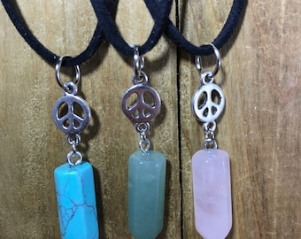 Crystal Peace Sign necklaces