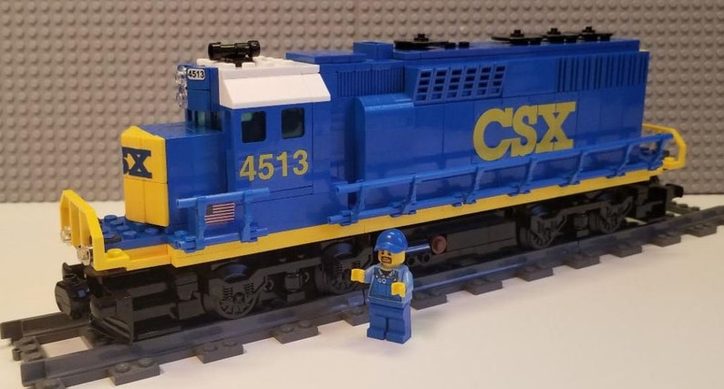 --PLEASE READ ITEM DESCRIPTION Lego Train Custom CSX Blue Version SD60 LEGO Bausteine & Bauzubehör