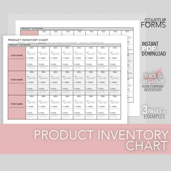 product inventory chart business product inventory checklist etsy