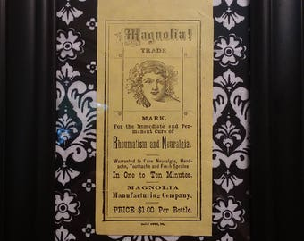 Framed Victorian Quack Medicine Bottle label magnolia manufacturing company rheumatism and neuralgia