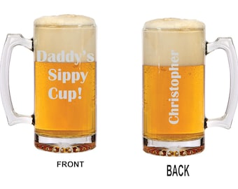 Daddy's Sippy Cup Beer Mug Perfect for Fathers Day Unique Father's day gift New father's Personalized Beer Mug Custom Gift for Dad