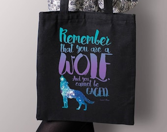 A Court of Wings and Ruin Canvas Bag, Remember That You Are a Wolf Bag, Bookish Tote, ACOWAR Canvas Tote Bag