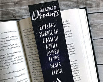 Court of Dreams Bookmark, ACOWAR Bookmark, Rhysand, Feyre, Cassian, Azriel, Amren, Mor, Nesta, Elain, Sarah J Maas, Bookmark, Wings and Ruin