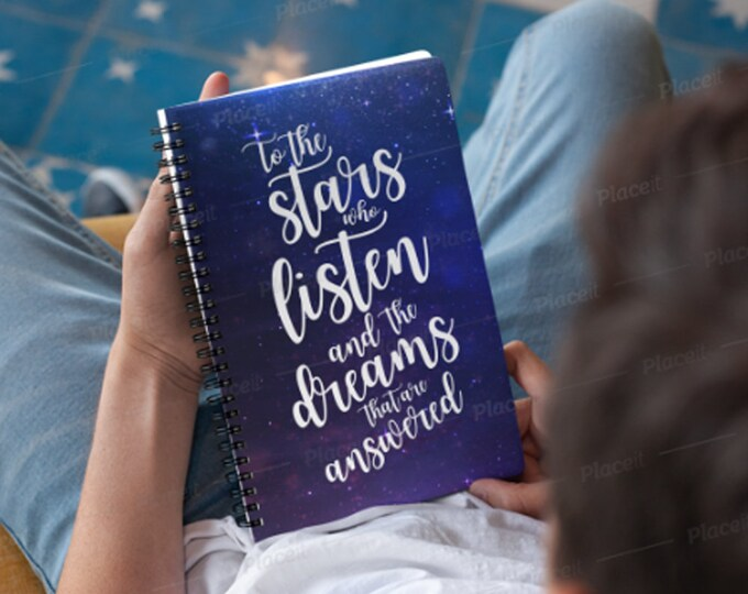 A Court of Mist and Fury Notebook, To the stars who listen, Rhysand, Feyre, ACOTAR Notebook, Sarah J Maas, Bookish, ACOMAF