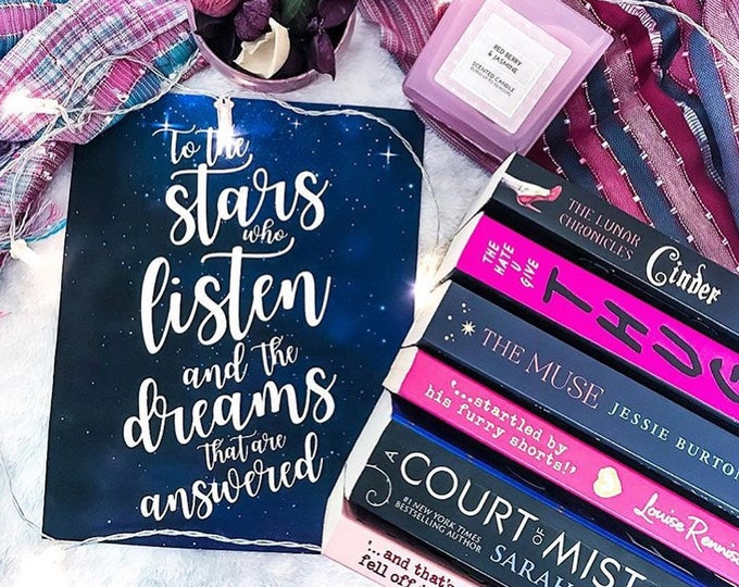 ACOMAF Print, To the stars who listen, Feysand, Rhysand Quote, A Court of Mist and Fury, Poster, Bookish Quote Print, Sarah J Maas Print