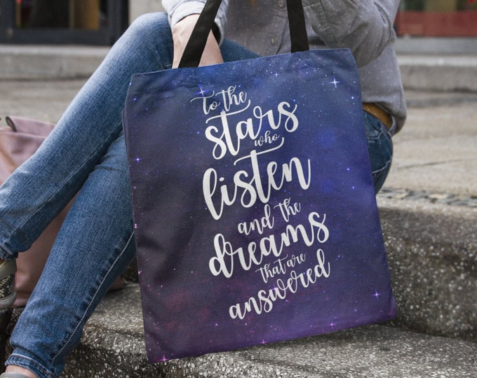 A Court of Mist and Fury Tote Bag, Rhysand, Feysand, Feyre, To the stars who listen, Rhysand Quotes, ACOMAF Bag, Bookish Tote, Sarah J Maas