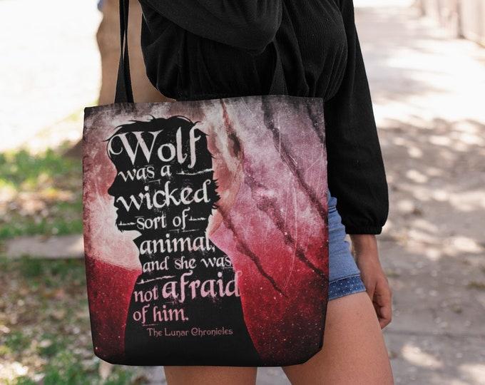 Wolf Lunar Chronicles Tote Bag, Wolflet, Ze'ev Kesley, Wolf and Scarlet, Marissa Meyer, Cinder, Scarlet, Captain Thorne, Bookish Bag