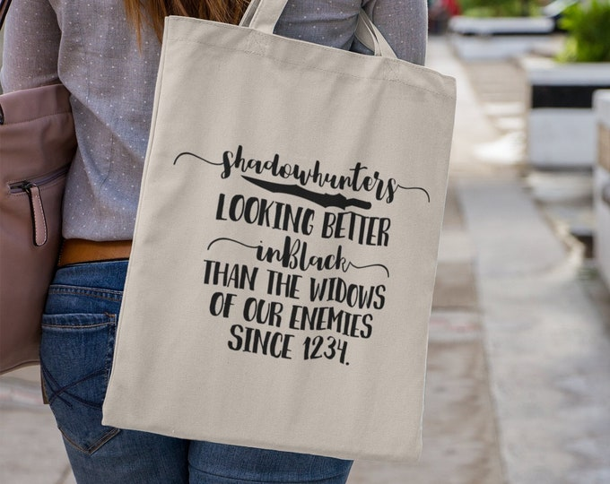 Shadowhunters Tote Bag, The Mortal Intruments, Jace Herondale, Clary Fairchild, Alec Lightwood, Infernal Devices, Shadowhunters Gift, Clace