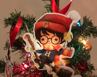 potter holiday ornaments potter christmas decorations potter xmas decor book ornaments nerdy christmas tree hangings wizard friends