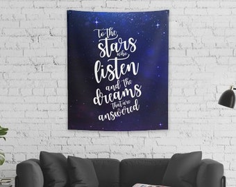 ACOTAR Wall Tapestry, Rhysand, Feyre, To the Stars Who Listen and the Dreams that are Answered, Sarah J Maas, A Court of Thorns and Roses