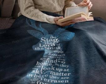 Throne of Glass Blanket, Stag, Aelin, Rowan, Rowaelin, Terrasen, Sarah J Maas, Throw Blanket, Sherpa Fleece Blanket
