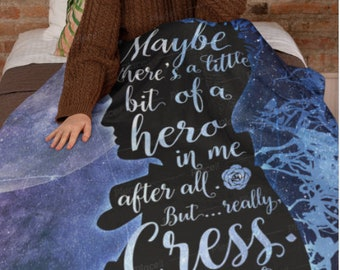 Carswell Thorne, Lunar Chronicles Blanket, Cinder, Cress, Cresswell, Marissa Meyer, Fleece Sherpa Blanket, Large 50x60