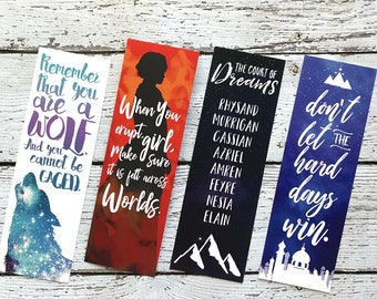 A Court of Thorns and Roses Bookmark Set, ACOTAR Bookmarks, Feyre, Rhysand, Mor, Nesta, Cassian,Court of Dreams, Sarah J Maas, FREE Shipping